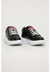Czarne buty sportowe Love Moschino z okrągłym noskiem, na sznurówki