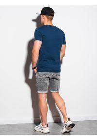 Ombre Clothing - T-shirt męski bawełniany basic S1369 - ciemnoniebieski - XXL. Kolor: niebieski. Materiał: bawełna. Styl: klasyczny #3