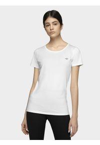 4f - Koszulka treningowa damska. Kolor: biały. Materiał: dzianina, skóra. Wzór: gładki. Sport: fitness
