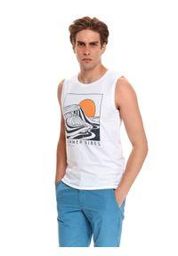 TOP SECRET - T-shirt bez rękawów. Kolor: biały. Materiał: bawełna, tkanina. Długość rękawa: bez rękawów. Wzór: nadruk. Styl: wakacyjny