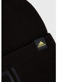 adidas Performance - Czapka. Kolor: czarny. Materiał: dzianina. Wzór: ze splotem