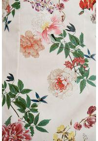 Marie Zélie - Sukienka Milena Silvestria kremowa. Kolor: kremowy. Materiał: bawełna, wiskoza, materiał, elastan. Typ sukienki: proste