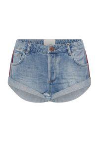 ONETEASPOON - Jenasowe spodenki Bandits. Stan: obniżony. Kolor: niebieski. Materiał: jeans. Wzór: aplikacja