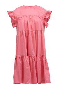 Devotion Twins - Krótka sukienka z falbankami zamiast rękawów Devotion. Typ kołnierza: kołnierz z falbankami. Kolor: biały. Materiał: bawełna. Długość: mini