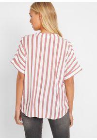 Bluzka w paski, krótki rękaw bonprix truskawkowy w paski. Kolor: czerwony. Długość rękawa: krótki rękaw. Długość: krótkie. Wzór: paski