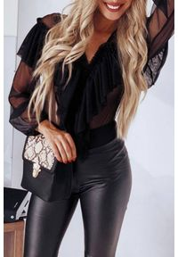 Czarna bluzka IVET z aplikacjami, elegancka