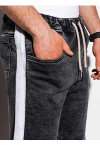 Ombre Clothing - Krótkie spodenki męskie jeansowe W221 - czarne - XXL. Okazja: na co dzień. Kolor: czarny. Materiał: jeans. Długość: krótkie. Wzór: kolorowy, aplikacja. Sezon: lato. Styl: casual, klasyczny #4