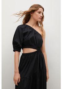 mango - Mango - Sukienka NIEVES. Kolor: czarny. Materiał: materiał, bawełna. Typ sukienki: rozkloszowane