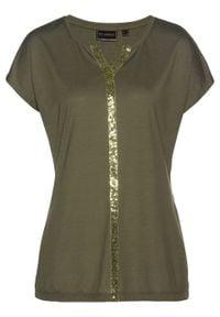 Długi shirt z cekinami bonprix ciemnooliwkowy. Kolor: zielony. Długość: długie. Styl: elegancki