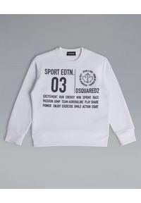 DSQUARED2 KIDS - Biała bluza z bawełny 6-16 lat. Kolor: biały. Materiał: bawełna. Długość rękawa: długi rękaw. Długość: długie. Wzór: nadruk. Sezon: lato