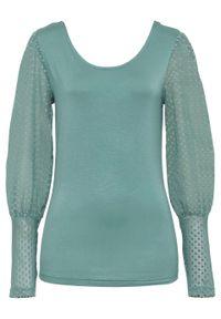 Zielona bluzka bonprix z długim rękawem, długa