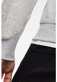 Szara bluza rozpinana G-Star RAW na co dzień, casualowa, z aplikacjami, z kapturem