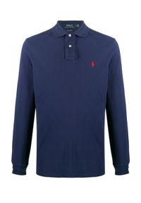 Ralph Lauren - RALPH LAUREN - Granatowa bluzka polo z długim rękawem. Typ kołnierza: polo. Kolor: niebieski. Materiał: bawełna. Długość rękawa: długi rękaw. Długość: długie. Wzór: haft