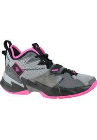 Szare buty sportowe Jordan z cholewką, do koszykówki