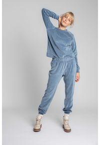 MOE - Spodnie Joggers z Welurowej Dzianiny - Niebieskie. Kolor: niebieski. Materiał: welur, dzianina