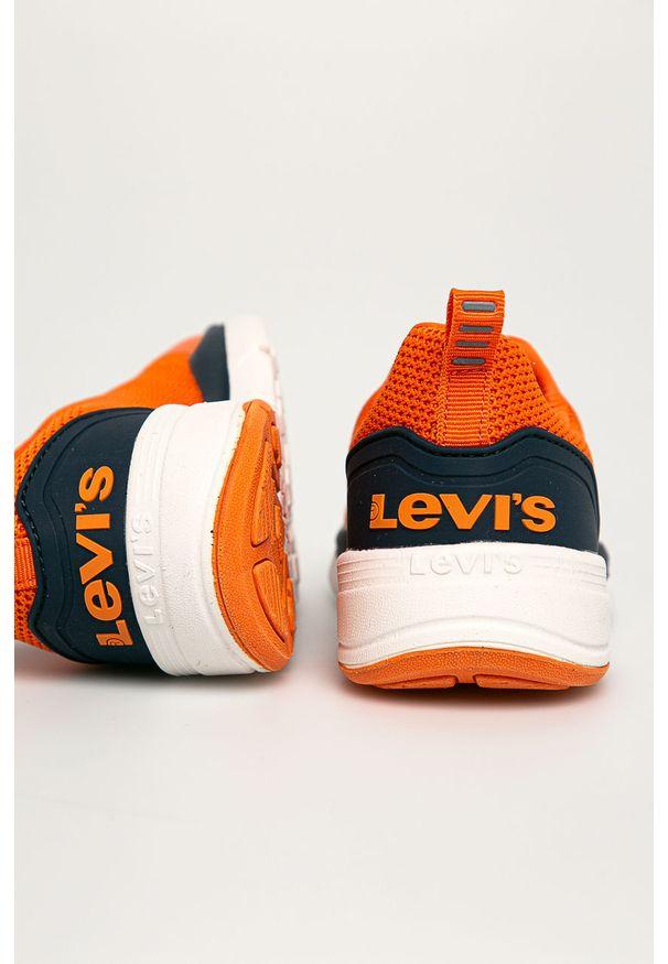 Czerwone buty sportowe Levi's® na spotkanie biznesowe, z cholewką, z okrągłym noskiem