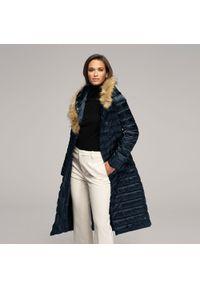 Niebieski płaszcz Wittchen na zimę, z kapturem