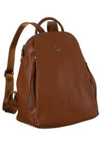 DAVID JONES - Plecak damski koniakowy David Jones 6607-2A COGNAC. Materiał: skóra ekologiczna