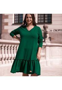Sukienka dla puszystych Moda Size Plus Iwanek z dekoltem w kształcie v, z krótkim rękawem