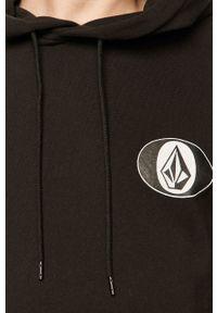 Czarna bluza nierozpinana Volcom z kapturem, casualowa, z nadrukiem, na co dzień