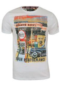 T-Shirt męski (koszulka) - Brave Soul - Biała, Stara Stacja Benzynowa. Okazja: na co dzień. Kolor: biały. Materiał: bawełna. Wzór: nadruk. Styl: retro