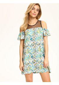 Biała sukienka TOP SECRET w kolorowe wzory, na lato, z krótkim rękawem