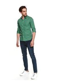TOP SECRET - Koszula z cienkiej tkaniny. Kolor: zielony. Materiał: tkanina. Długość: długie. Sezon: lato. Styl: klasyczny