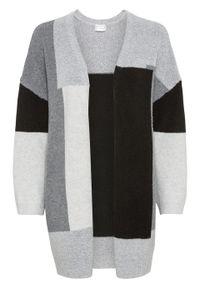 """Długi sweter bez zapięcia """"colorblocking"""" bonprix szaro-czarny wzorzysty. Kolor: szary. Długość: długie. Wzór: aplikacja"""
