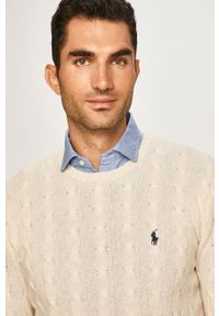 Kremowy sweter Polo Ralph Lauren z okrągłym kołnierzem, na co dzień, casualowy
