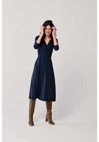 Niebieska sukienka Marie Zélie kopertowa, klasyczna