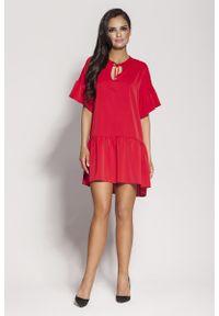 Czerwona sukienka z falbanami Dursi na lato, z falbankami
