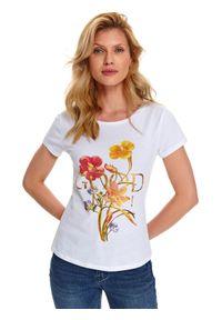 Biały t-shirt TOP SECRET krótki, z nadrukiem, klasyczny