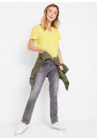 Shirt z bawełny organicznej, krótki rękaw bonprix jasna limonka. Typ kołnierza: typu henley. Kolor: żółty. Materiał: bawełna. Długość rękawa: krótki rękaw. Długość: krótkie