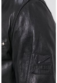 Pepe Jeans - Kurtka skórzana Peter. Okazja: na co dzień. Kolor: czarny. Materiał: skóra. Wzór: gładki. Styl: casual