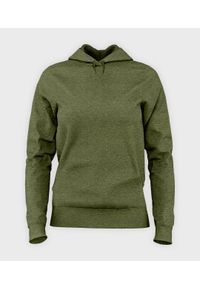 MegaKoszulki - Damska bluza z kapturem taliowana (bez nadruku, gładka) - zielona. Typ kołnierza: kaptur. Kolor: zielony. Wzór: gładki
