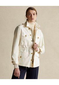 Ralph Lauren - RALPH LAUREN - Beżowa kurtka ze złotymi guzikami. Okazja: na co dzień. Typ kołnierza: polo. Kolor: beżowy. Materiał: materiał. Długość rękawa: długi rękaw. Długość: długie. Wzór: aplikacja. Styl: casual