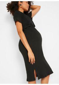 Sukienka na początek ciąży i okres po porodzie bonprix czarny. Kolekcja: moda ciążowa. Kolor: czarny. Długość: midi