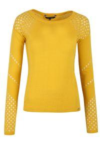 TOP SECRET - Ażurowy sweter. Okazja: na co dzień. Kolor: żółty. Materiał: jeans. Wzór: ażurowy. Sezon: wiosna, lato. Styl: elegancki, casual