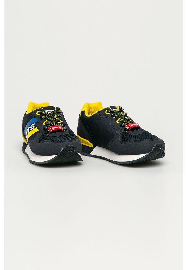 Niebieskie buty sportowe Levi's® z cholewką, z okrągłym noskiem, na spotkanie biznesowe