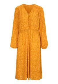 Żółta sukienka Cellbes w kolorowe wzory, z długim rękawem