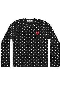 COMME DES GARCONS PLAY - Czarna bluzka w kropki z sercem. Kolor: czarny. Materiał: jeans, bawełna. Długość rękawa: długi rękaw. Długość: długie. Wzór: kropki. Styl: klasyczny