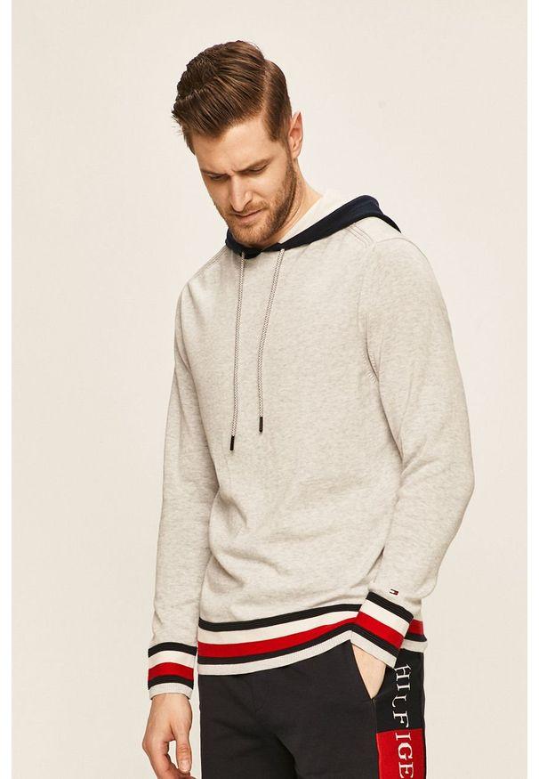 Szary sweter TOMMY HILFIGER casualowy, na co dzień, z kapturem
