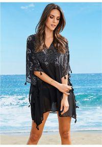 Czarna tunika bonprix z dekoltem w serek, długa, na plażę