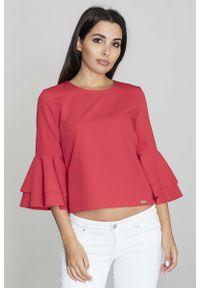 Figl - Czerwona Krótka Bluzka z Rozkloszowanymi Rękawami. Kolor: czerwony. Materiał: wiskoza, poliester. Długość: krótkie
