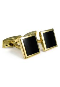 Modini - Czarno-złote kwadratowe spinki do mankietów A197. Kolor: wielokolorowy, złoty, czarny
