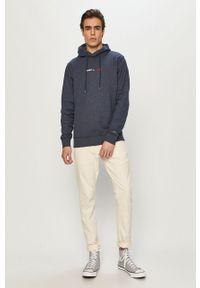 Niebieska bluza nierozpinana Tommy Jeans na co dzień, z kapturem, z aplikacjami, casualowa