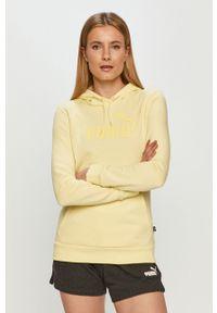 Puma - Bluza. Okazja: na co dzień. Kolor: żółty. Materiał: dzianina, poliester. Długość rękawa: długi rękaw. Długość: długie. Wzór: nadruk. Styl: casual