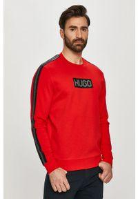 Czerwona bluza nierozpinana Hugo bez kaptura, casualowa, na co dzień, z nadrukiem