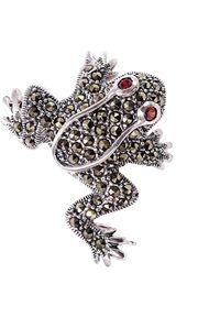 Braccatta - PIXI Srebrna broszka z markazytami, żabka. Materiał: srebrne. Kolor: srebrny. Wzór: aplikacja. Kamień szlachetny: markazyt