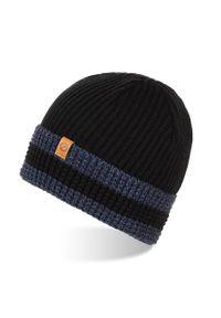 BRODRENE - Czapka męska zimowa beanie Brodrene CZ15. Kolor: wielokolorowy, niebieski, czarny. Materiał: materiał. Sezon: zima